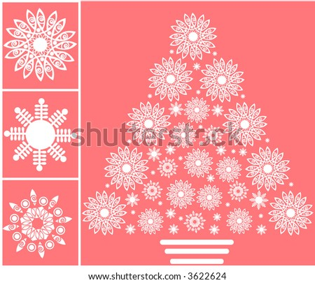 snowflake pine christmas tree vector - stock vector