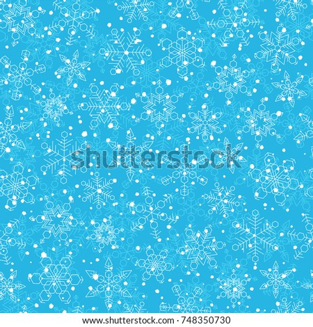 Snowflake seamless pattern. Winter vector background