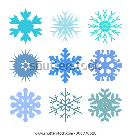 Snowflake set for winter design. Blue vector snowflakes on a white background.  - stock vector