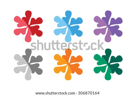 Snowflake shape vector logo icon template set. Winter, 2016 new year, merry christmas, abstract star ornament. Snowflake vector. Snowflake sign and silhouette - stock vector