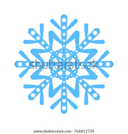 Snowflake Sign Blue Snowflake Icon Isolated Stock Vector 766812739