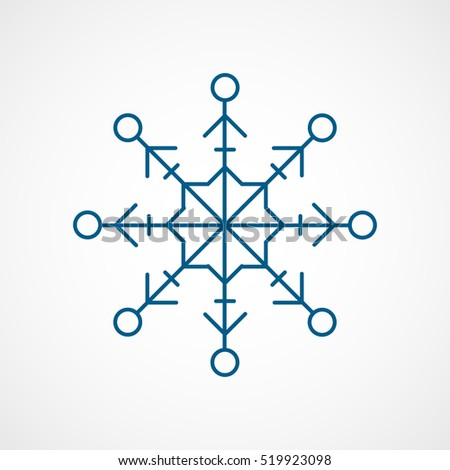 Snowflake Snow Blue Line Icon On White Background