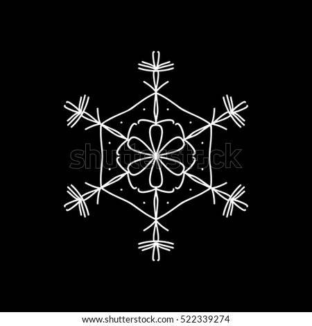 Snowflake Snow Christmas New Year Line Icon On Black Background