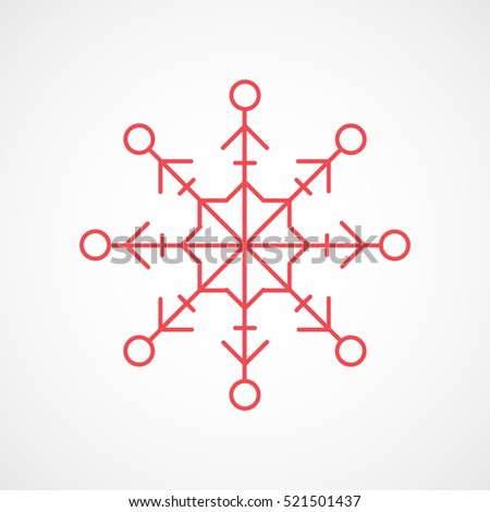 Snowflake Snow Christmas New Year Red Line Icon On White Background