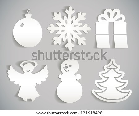 Snowflake, snowman, Christmas decorations, angel, Christmas tree, gift. Christmas icon cut from paper. Isolated on gray background. Vector illustration eps 10. Set - stock vector