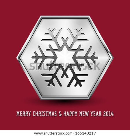 Snowflake Symbol Icon On Hexagon Silver Stock Vector 165140219