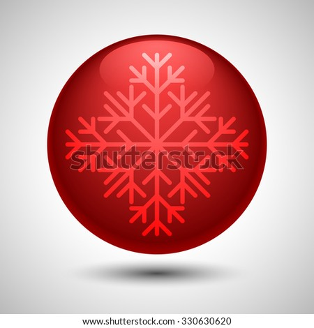 Snowflake symbol on the ball/button shape for Xmas decoration, advertising and as part of other creative designs.