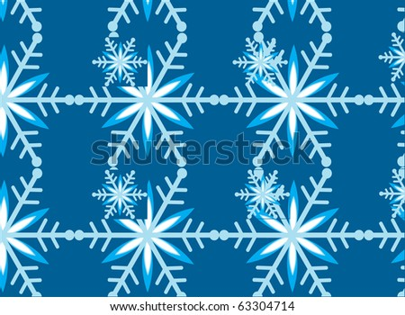 snowflake template on blue background - stock vector