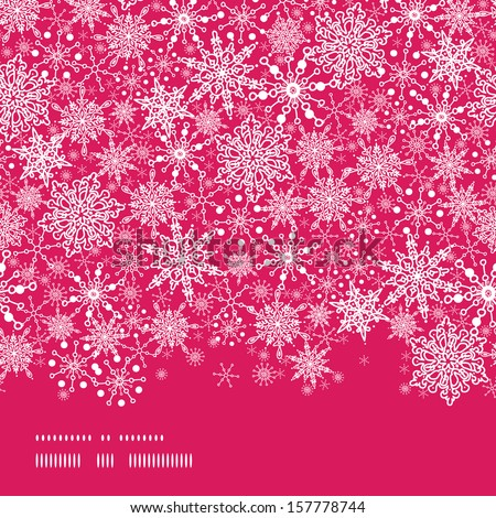 Snowflake Texture Horizontal Border Seamless Pattern Background - stock vector
