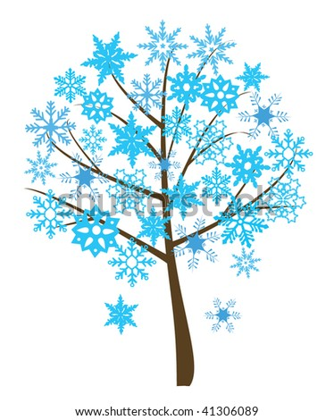 snowflake tree - stock vector