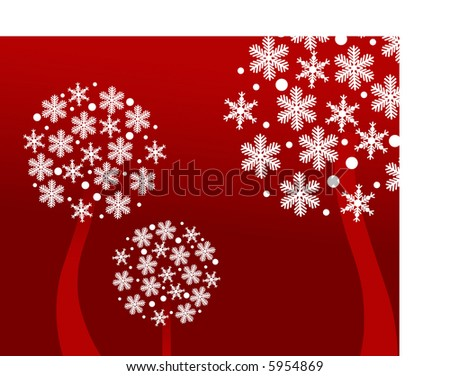 snowflake trees on red - stock vector