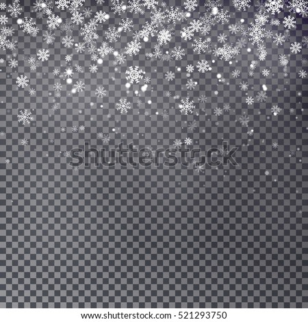 Snowflake vector. Falling Christmas snow fall isolated. Snowflakes decoration effect. Transparent snow flake pattern.