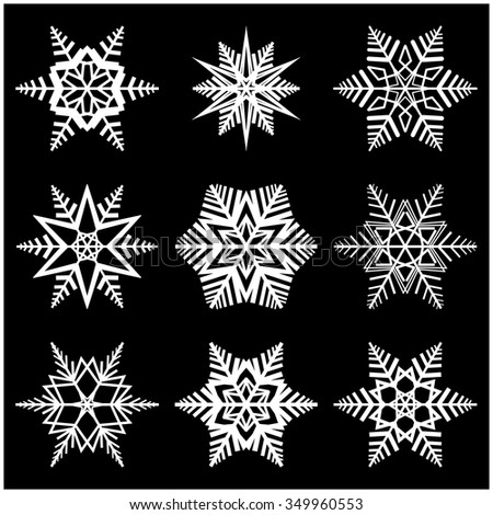 Snowflake vector symbol silhouette design. christmas winter icon  illustration isolated on the black background.