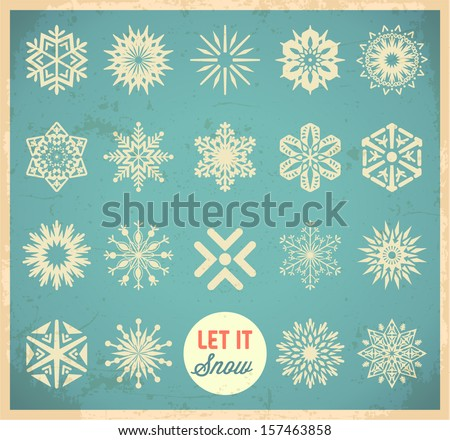 Snowflake winter set. Vector - stock vector