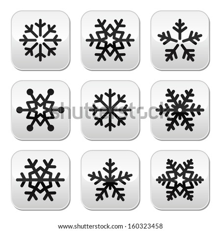 Snowflake winter vector buttons set - stock vector