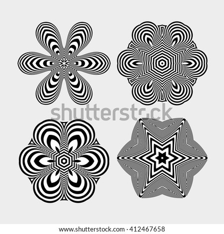 Snowflakes. Abstract Design Elements. Optical Art. Vector illustration. - stock vector