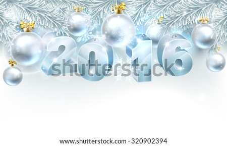 Snowflakes and Christmas tree bauble decoration ornament winter design background with baubles reading 2016. New Year or Christmas 2016 design. - stock vector