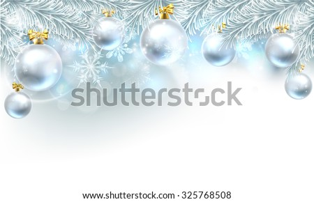 Snowflakes and Christmas tree baubles hanging from a Christmas tree background. - stock vector