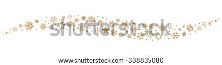 Snowflakes and Stars Border - stock vector