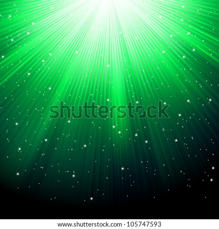 Snowflakes and stars descending on a path of green light. EPS 8 vector file included
