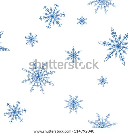 Snowflakes background pattern, Vector - stock vector
