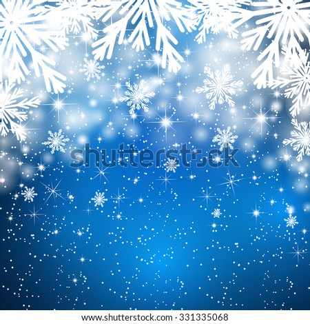 Snowflakes background with falling snow. Christmas Background. - stock vector