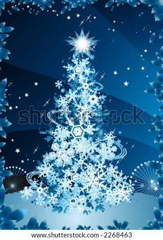 Snowflakes christmas tree - stock vector