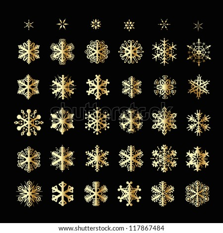 Snowflakes Christmas vector icons. Snow flake collection graphic art - stock vector