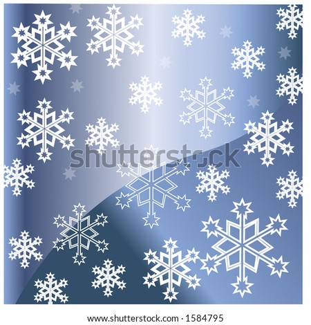 snowflakes falling faded stars behind - stock vector