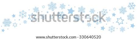 Snowflakes Ice Crystal Border - stock vector