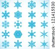 Snowflakes icon collection - stock photo