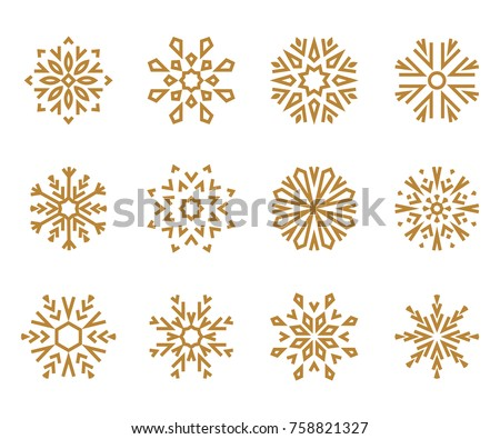 Snowflakes icon collection 2. Gold snowflakes on a white background. Graphic vector ornament.