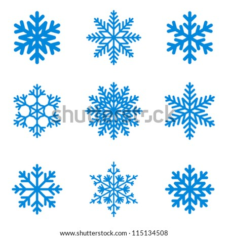 Snowflakes icon collection. Vector shape. - stock vector