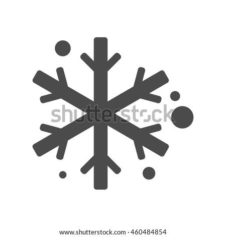 Snowflakes icon in black and white grey single color. Winter snow December season - stock vector