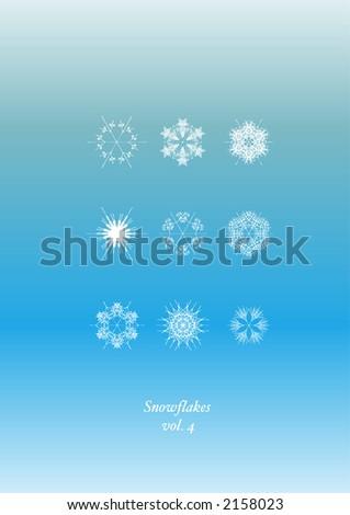 Snowflakes Icon Set - stock vector