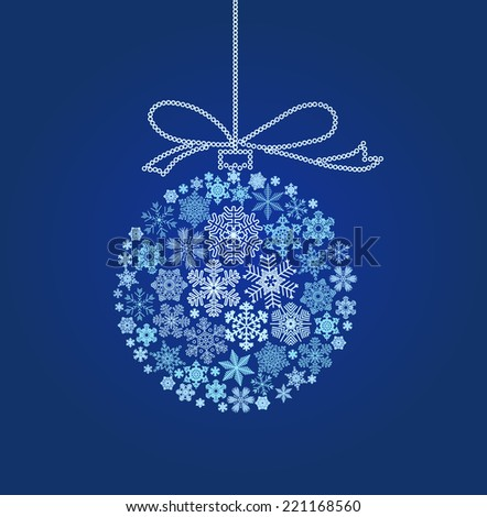 Snowflakes in the form of a blue Christmas ball - vector illustration
