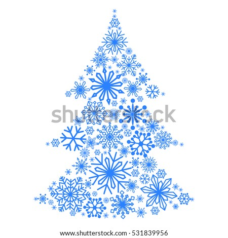 snowflakes form christmas tree winter themes stock vector royalty