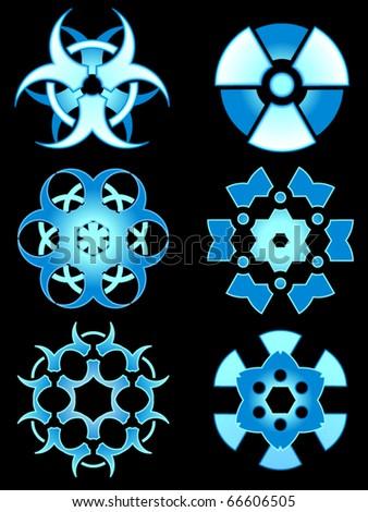 Snowflakes made from radiation and bio-hazard warning symbols - stock vector