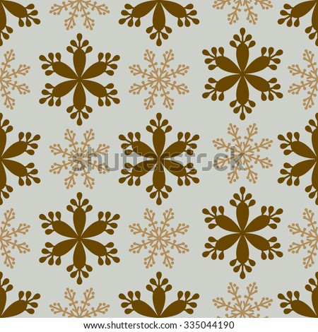 Snowflakes modern seamless pattern, vintage style background, wrapping paper in gold and blue colors - stock vector