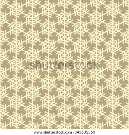 Snowflakes modern seamless pattern, vintage style background, wrapping paper in gold color - stock vector