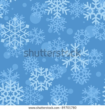 Snowflakes on blue background; winter seamless vector pattern - stock vector