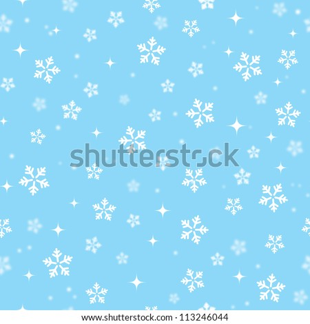 Snowflakes on blue sky - Christmas seamless background - stock vector