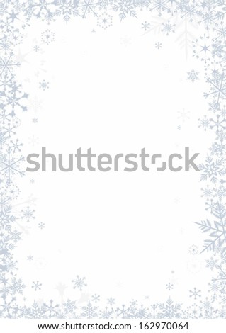 Snowflakes on white background vector frame - stock vector
