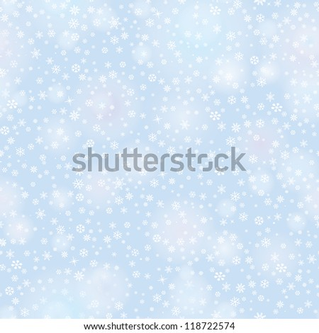 Snowflakes seamless pattern, christmas snow background. - stock vector