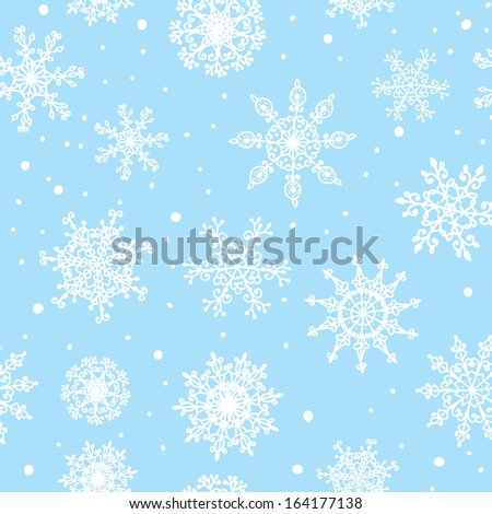 Snowflakes seamless pattern hand drawn design
