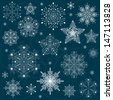snowflakes set background vector - stock photo