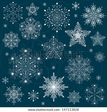 snowflakes set background vector - stock vector