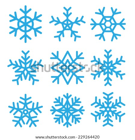 Snowflakes set.vector illustrations - stock vector