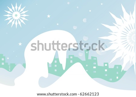 snowflakes, stars, city, buildings and winter night