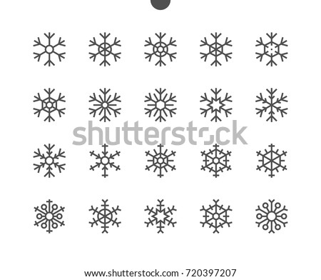 Snowflakes UI Pixel Perfect Well-crafted Vector Thin Line Icons 48x48 Ready for 24x24 Grid for Web Graphics and Apps with Editable Stroke. Simple Minimal Pictogram Part 1-2